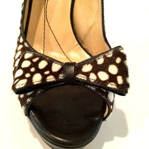 KATE SPADE HAIR ON HIDE PEEP TOE PUMPS
